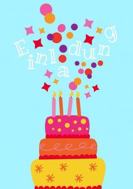 Lustige Einladungskarte Zum Geburtstag Mit Geburtstagskuchen Und Buntem  Konfetti