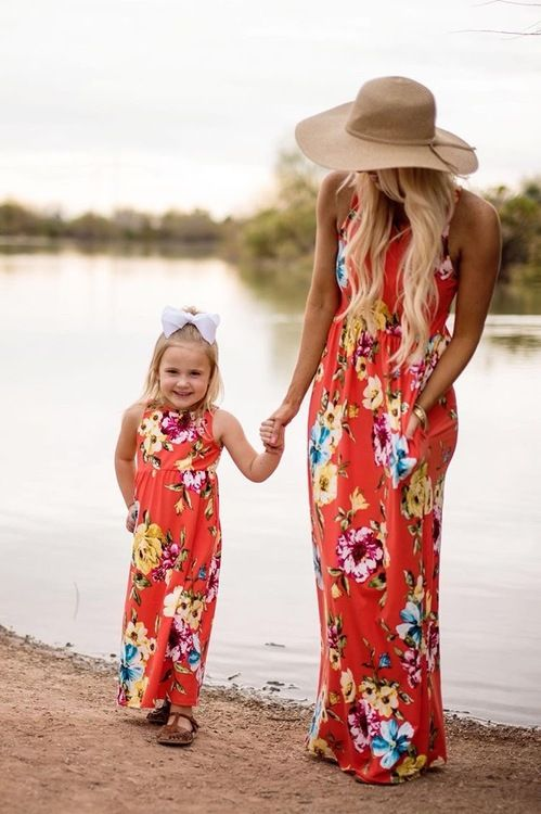 364893c585c04 Mommy Holding on Floral Tank Maxi Dress Coral - Ryleigh Rue Clothing ...