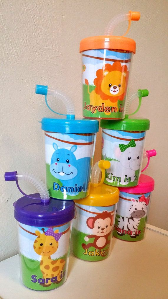 Zoo Animals Jungle Safari Personalized Party Favor Cups, Birthday Party Treat Cups, Zebra, Lion, Hippo, Monkey, Elephant Set of 6 www.PartyFavorCups4u.com
