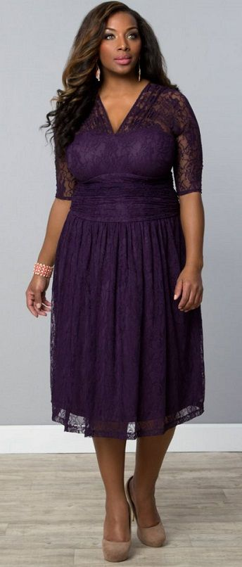 Plus Size Swinging Symphony Dress - Purple Carnation Curvalicious Clothes