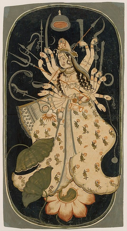 An Indian representation of Mahadevi, the Hindu Great Goddess, c.1725; she holds an array of weapons; her third eye and crescent moon in her hair link her symbolically with Shiva; she stands on a lotus flower, a symbol of purity and sanctity. (Metropolitan Museum of Art)