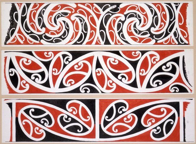 Williams, Herbert William 1860-1937 :Designs of ornamentation on Maori rafters. Nos. 25, 26, 27 [1890s]