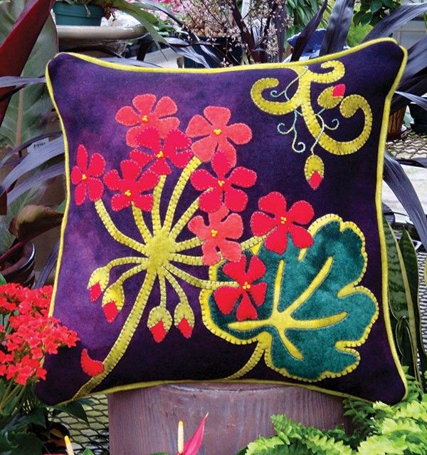 Jewel-Tone Geranium Wool Applique Throw Pillow by the Wooly Lady