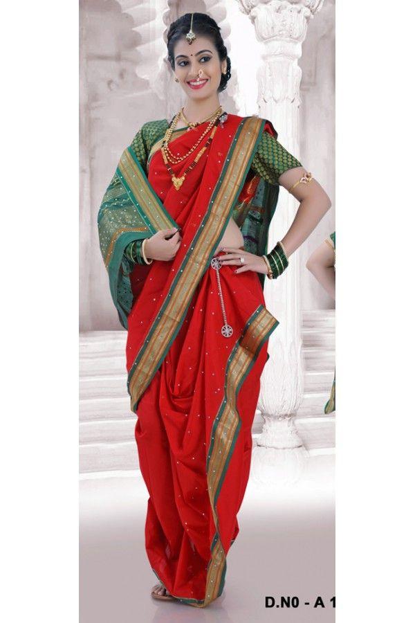Festival Wear Red Bramhni Nauvari Saree  - RKSSFRTWA11