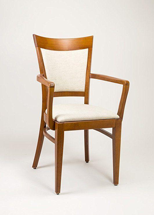 silla con brazos de madera y tapizada para comedor modelo