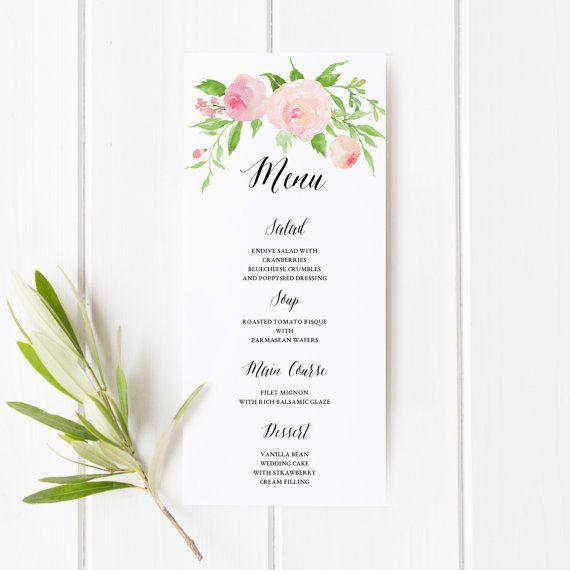 1000 ideas about Wedding Menu Template – Menu Printable Template