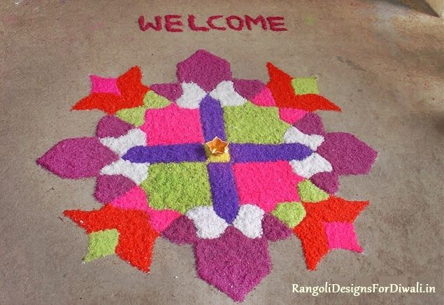 welome rangoli design for new year 2015