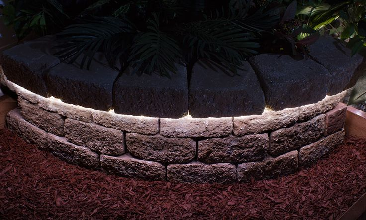 pihavalaistus - Epäsuora valaistus, kivimuuri
