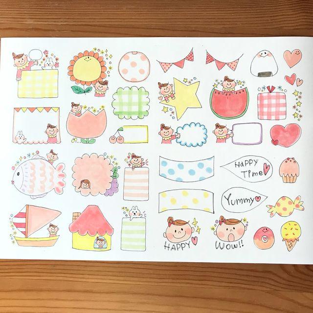 Qセット 手描き ベビーシール 女の子ver メッセージカード イラスト 手紙 イラスト 幼稚園 イラスト