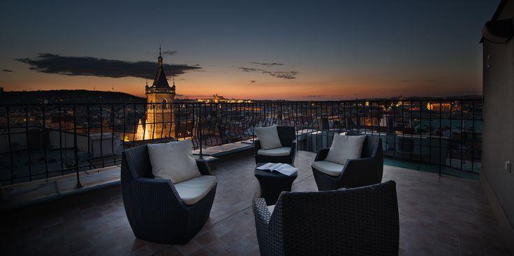 Prague Castle View Suite terrace by night