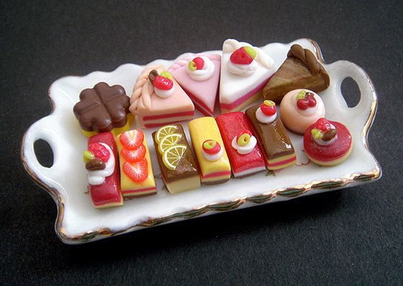 Assorted Dollhouse Miniature Petit Cakes + Porcelain Serving Tray, Dolls, High Tea, Fake Food, Pastry, Bakery, Cafe, Cake Shop, patisserie