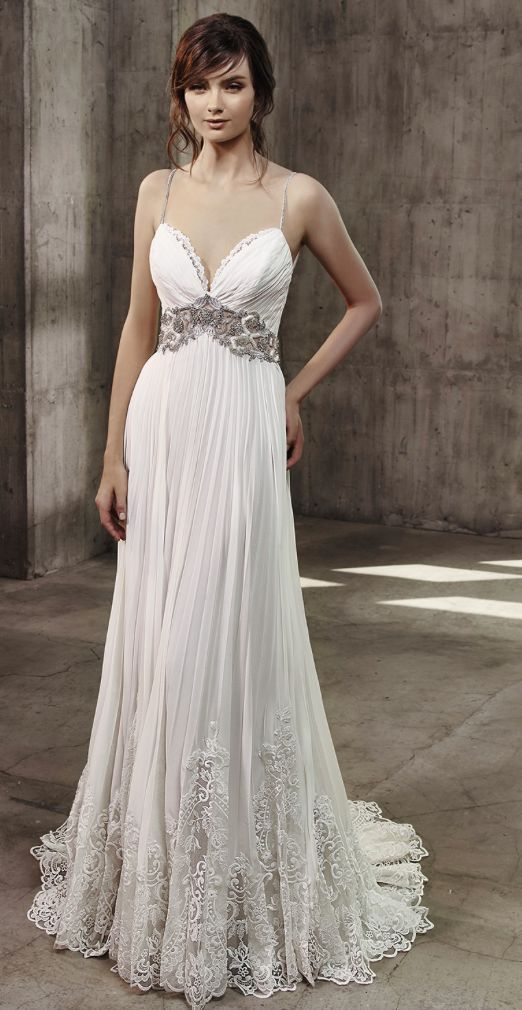 Spaghetti strap pleated skirt wedding dress with embellished waist-cinching detail