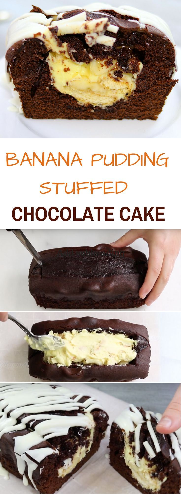 Banana Pudding Stuffed Chocolate Cake: the tasty banana pudding is hidden inside of the chocolate cake! This amazing recipe will take your love for cake to the next level!
