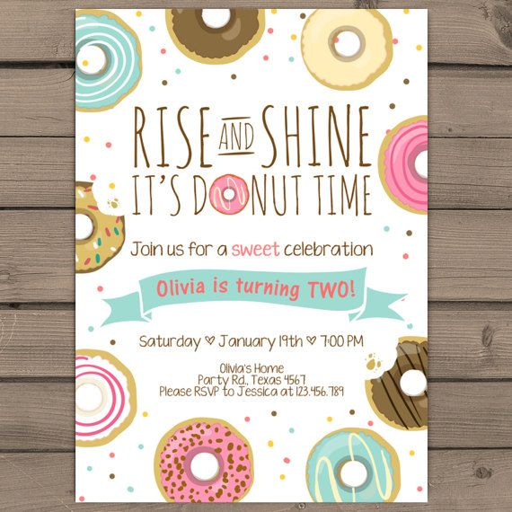 Donut Birthday Party Invitation doughnut by Anietillustration