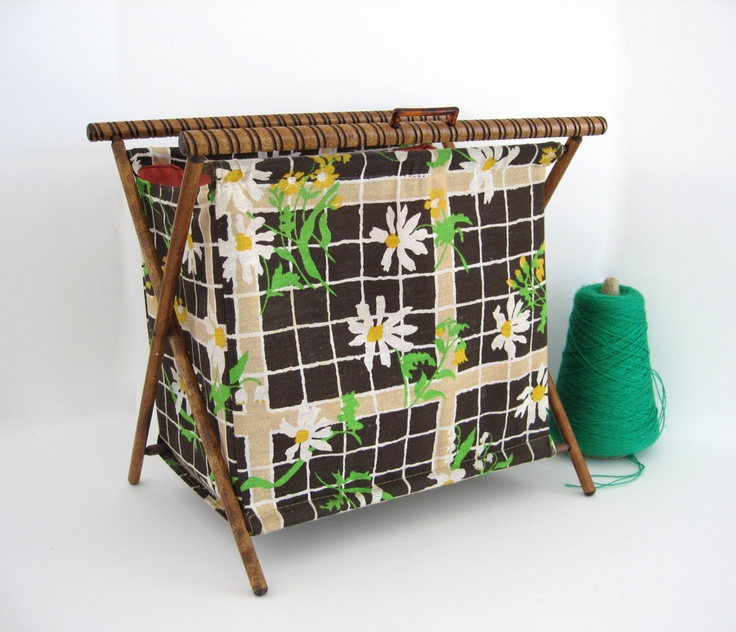 Knitting Pattern Storage Bag : RESERVED Vintage Sewing Tote Bag Caddy Folding Stand Large ...