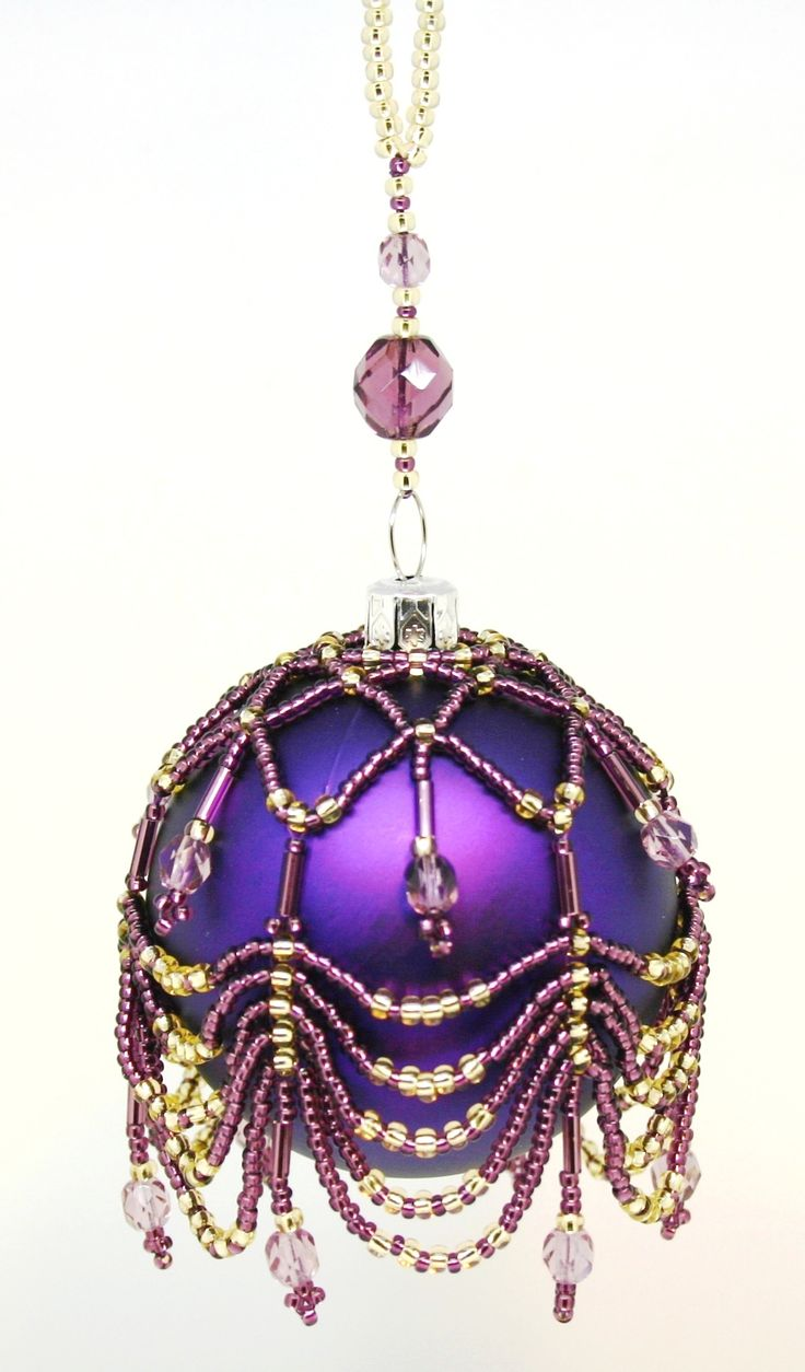 Purple Christmas Tree Baubles Uk : The best images about beaded baubles christmas