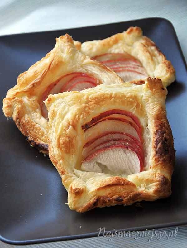 Francuskie kwadraciki z jabłkiem, ciastka z jabłkami, ciasteczka, jabłka, ciasto francuskie, french squares of apple, cake with apples, cookies, apples