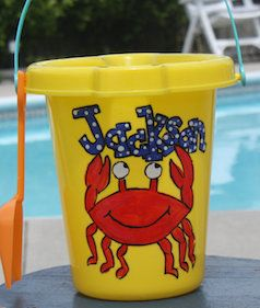 Kids personalized yellow bucket