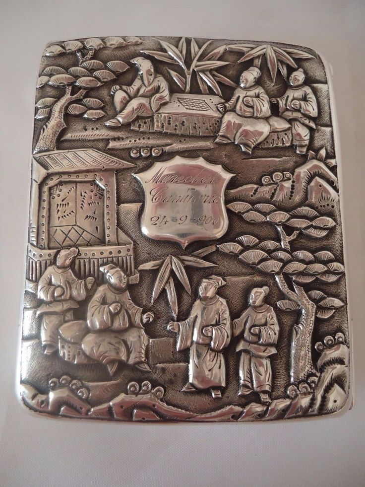 A CHINESE EXPORT SILVER CIGARETTE CASE - CHASED WITH BAMBOO & BIRDS- CIRCA 1900 | eBay