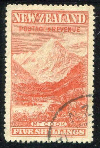 Stamps #327001 1898 Pict 5/- Mt Cook Presentation copy, superb used with A Class cancel across corner, perfectly centred copy CP Cat $1500 ...