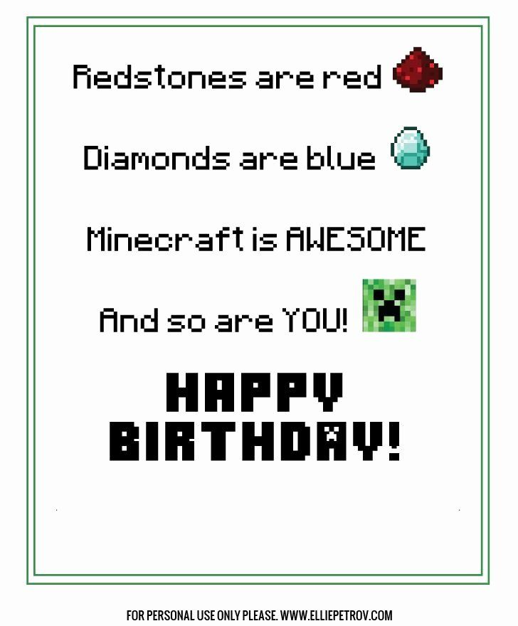 Minecraft Birthday Card Printable Awesome Free Printable Minecraft Birthday Card Minecraft Birthday Card Birthday Cards For Boys Birthday Card Printable