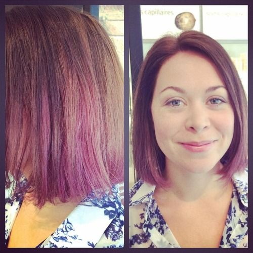 Karine came by for a lilac ombre and a blunt bob. What a change!