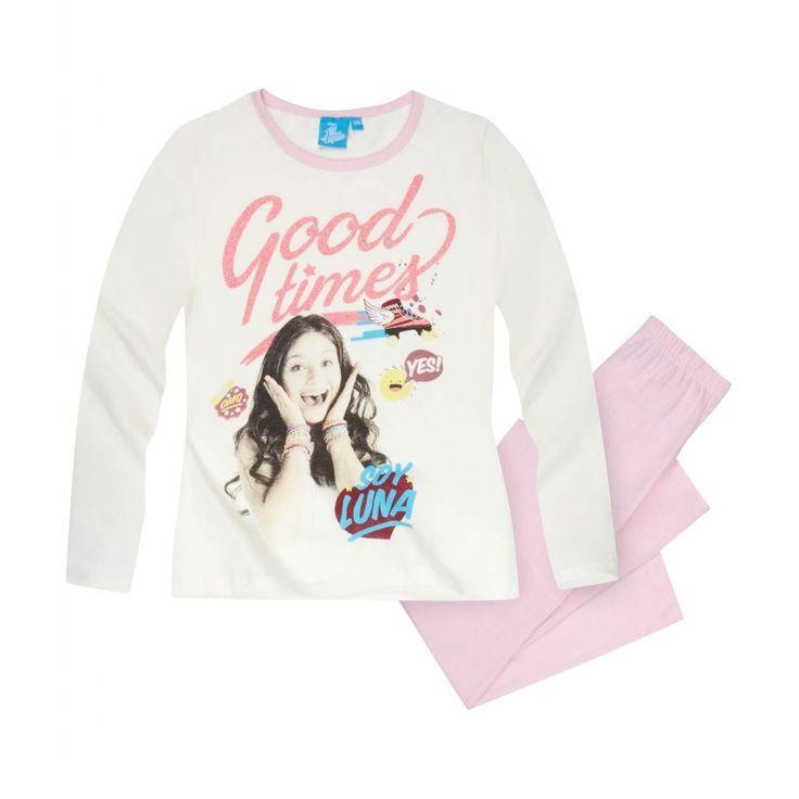 Pijamaua in culori delicate cu vedeta preferata va fi in topul preferintelor!  bluza cu maneci lungi si decolteu usor elastic; material 100% bumbac; imprimare foto de calitate, cu sclipici de efect; pantaloni lungi de culoare roz deschis, cu elastic in talie pentru confort optim; moale si confortabila din material de calitate, bumbac 100%; materialul nu este gros, potrivit pentru sezonul de toamna; articol produs cu licenta Disney Soy Luna.