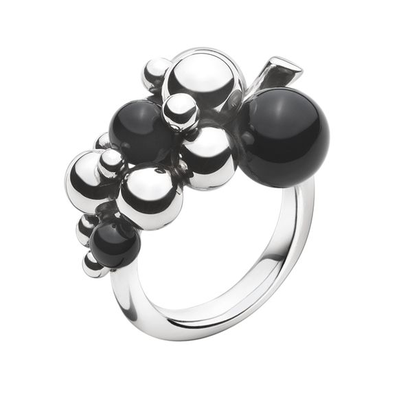 MOONLIGHT GRAPES ring - sterlingsølv med sort agat, lille