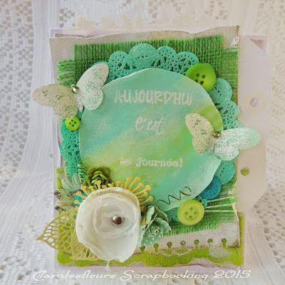 Claralesfleurs Scrapbooking 2015 - Une carte en vert pomme et turquoise avec étampes Cadre #2 et Bonne Fête de Simple à Souhait...
