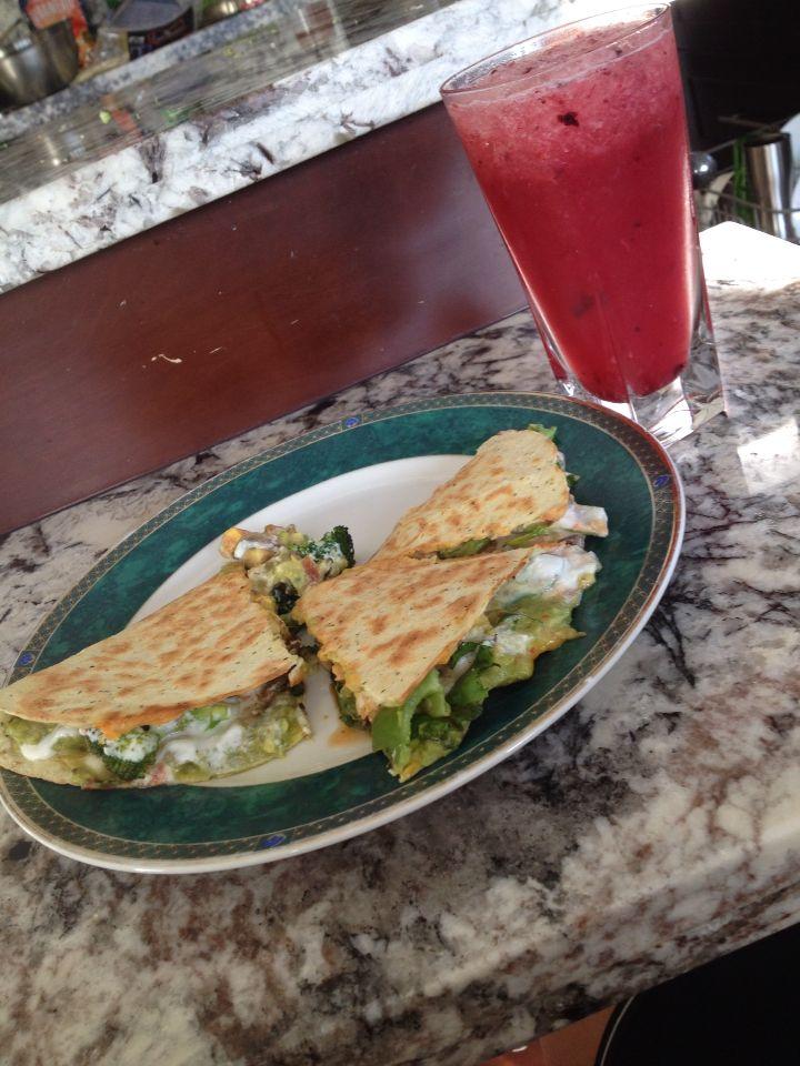 Extra stuffed veggie quesadilla along with a margherita