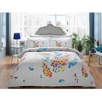 Tac Clarinda turcoaz - Lenjerie de pat din bumbac satinat 2 persoane  - articole pline de culoare, cu textura delicata, pentru dormitor. #bedlinen #DecoStores #amenajariinterioare #interiordesign #lenjeriipat #lenjeriipatbumbacsatinat #accesoriidormitor #bedroom