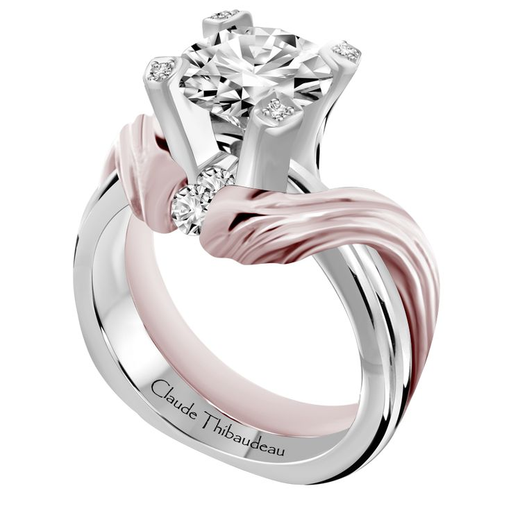 Engagment Ring PLT 10134 Platinum Or 18Kt White With Interlocking 18k Rose Gold Wedding Band