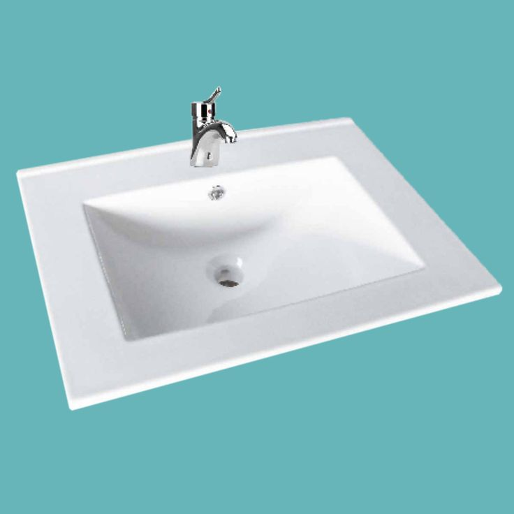 Bathroom Drop In Self Rimming Square White Porcelain Sink Single Faucet Hole