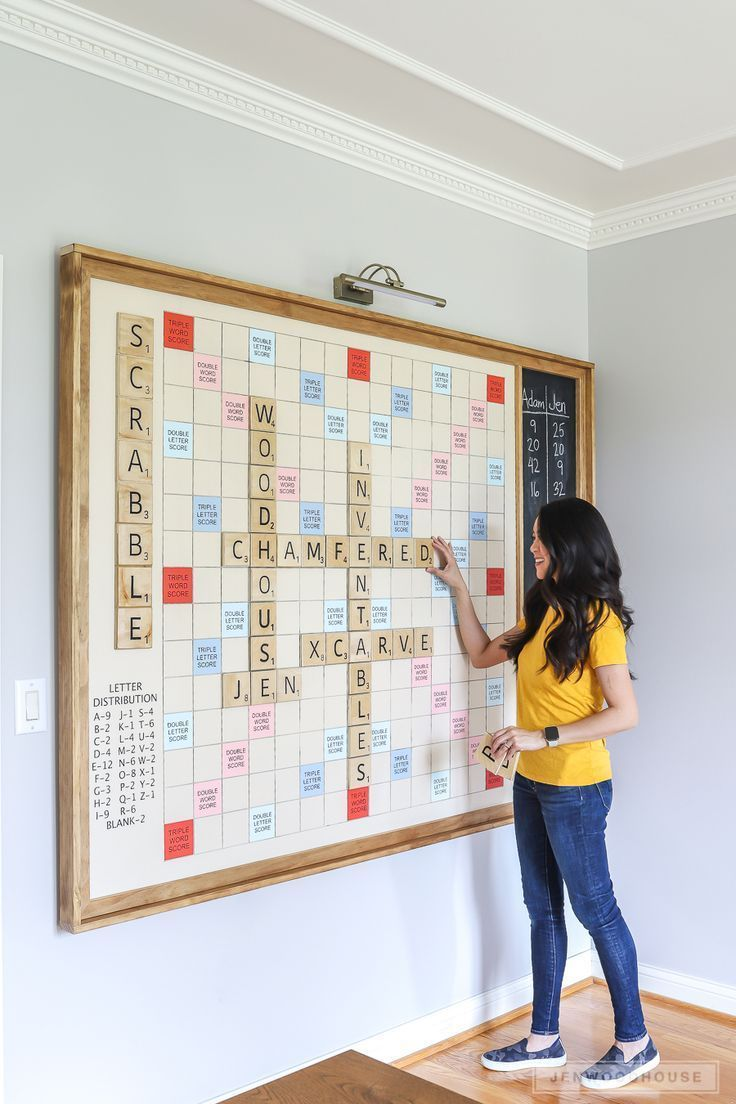 How To Make A Diy Giant Wall Scrabble Game Board Giant Wall Scrabble Wall Scrabble Game Scrabble Game