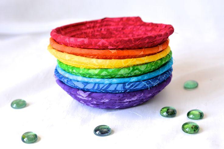 Chakra Basket Set, 7 Handmade Yoga Bowls, Cute Desk Accessory Baskets, Candy Dish Bowl, Set of 7 Rainbow Baskets by WexfordTreasures on Etsy