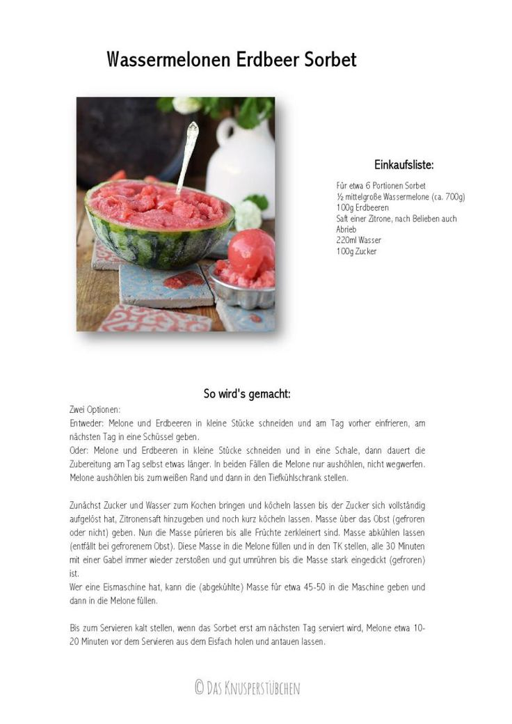 Wassermelonen Erdbeer Sorbet - Watermelon Strawberry Sorbet | Das Knusperstübchen