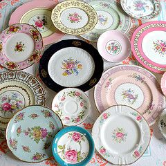Mismatched vintage plates. This general style: Victorian, floral, elegant. I'm collecting a set of 180, which will be on the tables at the start of the reception. They will then be cleared and used for the dessert course: pie!