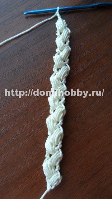 """Вязание крючком шнура """"колосок"""""""