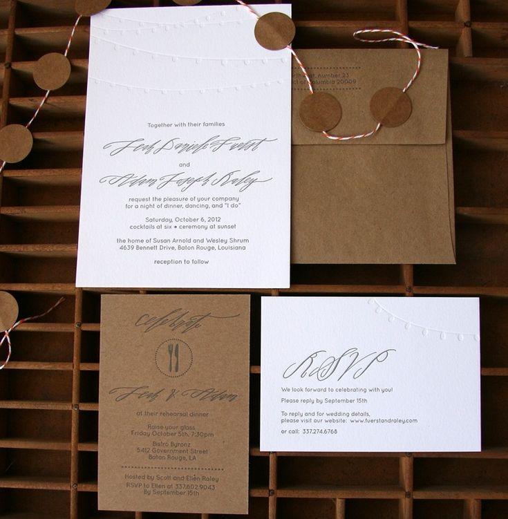 Leah + Adamu0027s Calligraphy And Kraft Paper Wedding Invitations