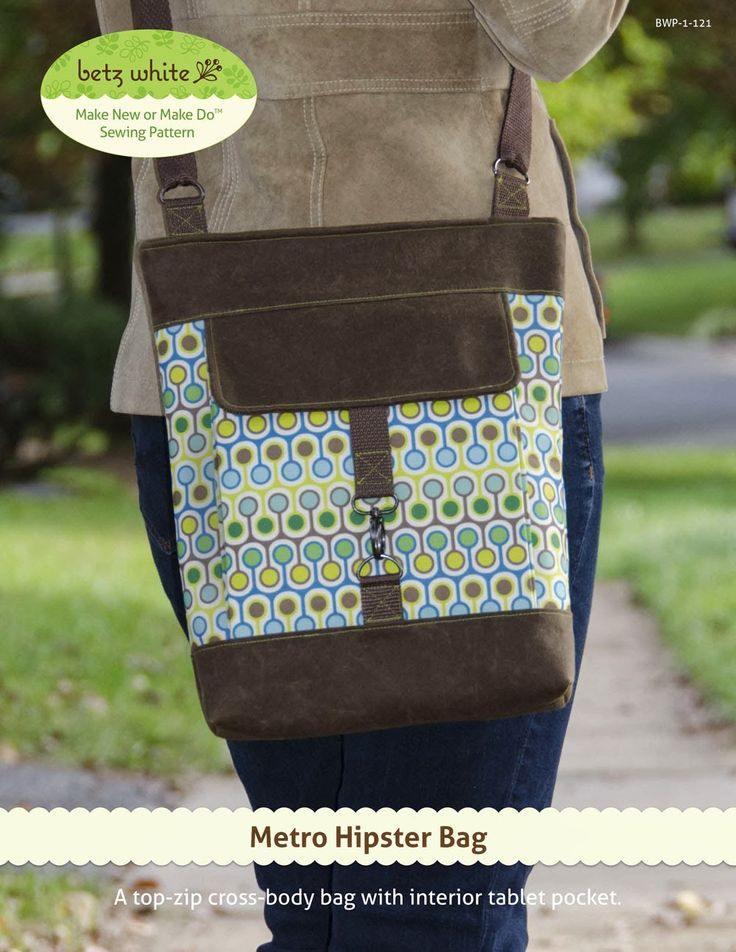 The Cross-body Metro Hipster Bag PDF Pattern + Free Adjustable Strap Sewing Tutorial by Betz White