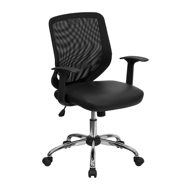 Offex Mid-Back Black Office Chair with Mesh Back and Leather Seat