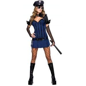 Deguisement agent de police Night Watch femme,  Deguisement agent de police de la nuit sexy adulte avec casquette de police et gants.