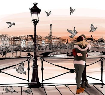 romantic: Young couple in love on Pont des arts in Paris - vector illustration