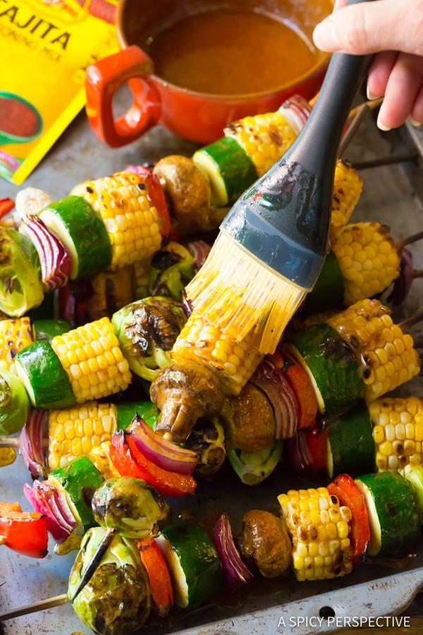Zesty Grilled Fajita Vegetable Skewers   ASpicyPerspective.com
