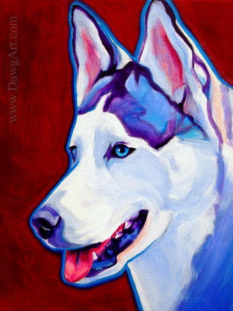 Siberian Husky, Pet Portrait, DawgArt, Dog Art, Pet Portrait Artist, Colorful Pet Portrait, Husky Art, Pet Portrait Painting, Art Prints
