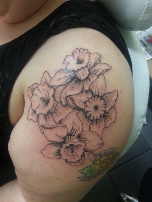 1000 ideas about daffodil tattoo on pinterest tattoos for Dragon lily tattoo