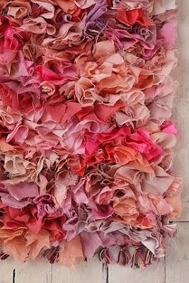 fabric scrap shag rug tutorial; Soooooo need to make this for my room in shades of lilac!!!