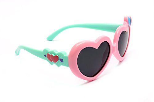 TIJN Kids Super Flex Rubber Polaried Heart Sunglasses for Girls Toddler andlt