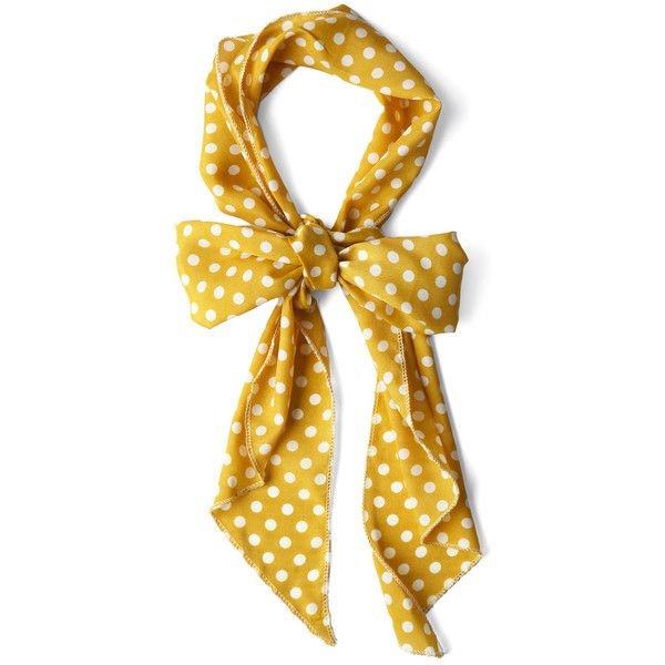 Bow to Stern Scarf in Mustard Dots ❤ liked on Polyvore