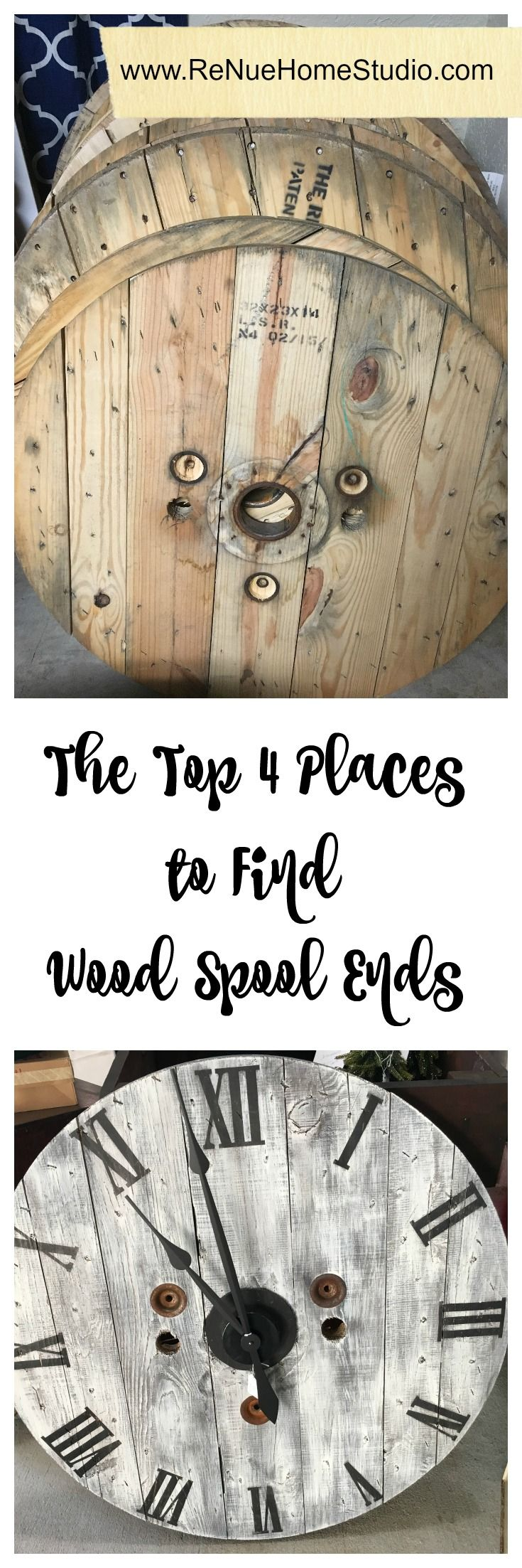 Here's our Top 4 Places to Find Wood Spool Ends for your DIY Projects.   Spool Clocks, Spool Table, Wire Spool, Cable Spool, Do It Yourself, Tutorial, Craigslist, Facebook, Pinterest